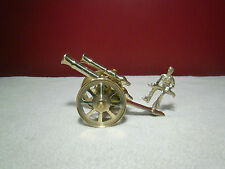 Vintage Brass Double Barrel Cannon Soldier Canon Military Rotating Wheels