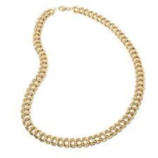 "18"" Technibond Double Curb Circle Chain Necklace 14K Yellow Gold Clad Silver HSN"