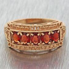 1970s Vintage Estate 14k Solid Yellow Gold Garnet Cluster Filigree Band Ring