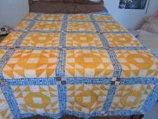 ANTIQUE VINTAGE HAND SEWN FEED SACK QUILT PATCHWORK SQUARES
