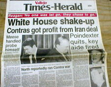 1986 newspaper REAGAN IRAN CONTRA AFFAIR Scandal exposed TRADED ARMS fr HOSTAGES