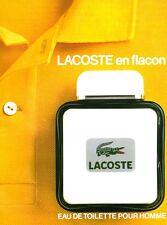 Publicité ancienne parfum eau de toilette Lacoste  non parfumé