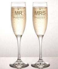 Personalizzata INCISA Champagne flauti (Set di 2) - il signor & MRS matrimonio-VETRERIA