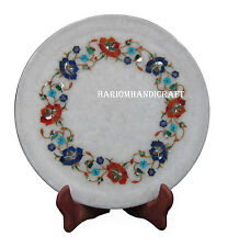 "12"" Marble Serving Round Plate Real Multi Stone Pietradure Inlay Art Gifts H2559"