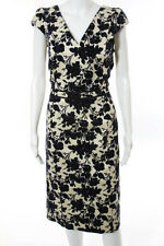 ToryBurch BeigeBlack FloralPrint Sleeveless SlimFit Vneck Velvet Sheath Dress 10