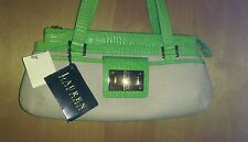 Vintage Ralph Lauren green, and beige handbag. Really unique! New tags attached