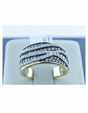 14K Yellow Gold Ring White Natural Diamond and Champagne Fancy Diamond Band