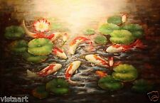 "High Quality Oil Painting on Stretched Canvas 24x36"" - Charming Koi Fish in Pond"