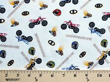 Cotton/Blend Motorcycle Bike Motocross T-Knit Fabric Print By the Yard D347.01