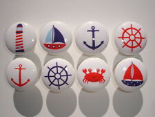 Set of 8 Blue and Red Nautical Dresser Drawer Knobs Crab Boat Lighthouse Anchor