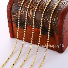 Bulk Wholesale Lots 5pc 2mm Gold Filled Women Men Beads Ball  Chain Necklace 18""