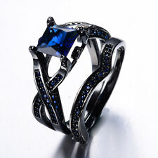 Sapphire Birthstone White  Black Gold  Filled Wedding Bridal Set Ring Size 8