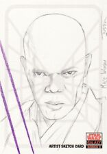 Topps Star Wars Galaxy 5 Justin Chung / Mace Windu Sketch Card