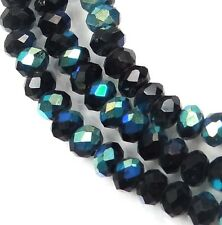 50 Czech Glass Faceted Rondelle Beads - Jet - AB 4x3mm