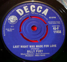 "Billy Fury Last Night Was Made For Love 7"" UK ORIG 1962 Decca A King For.. VINYL"