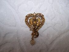 Rare Kirks Folly Heart Cherub Dangle Brooch Gold Tone Signed