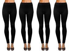 4-Pack Women's Seamless Full Length Fleece Lined Leggings Black - One Size