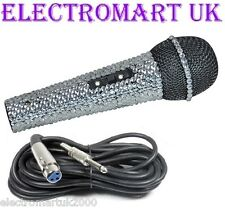 SILVER CRYSTAL DIAMANTE BLING MICROPHONE MIC KARAOKE DISCO DJ PUB CLUB