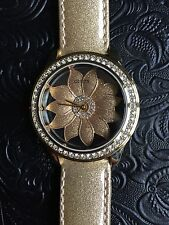 Guess Women's Gold Dial Analog Quartz Watch Gold Leather Strap U0534L2 - NWT