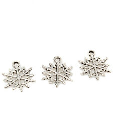 50x Antique Silver Tone Snowflaker Charms Alloy Pendants XMAS Jewelry Findings C