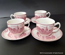 Johnson Bros England Red Pink/Ivory OLD BRITAIN Castles 1792 Cups Saucers Set 4
