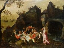 Fine Large 16th Century Antwerp School Odysseus & Circe Animals Oil Painting