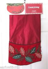 """Holly Berry Christmas Tree Skirt 3-D Berries Burgundy & Red Country Living 48"""""""