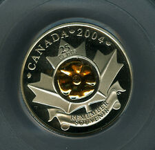 2004 CANADA SILVER - GOLD  POPPY 25 CENTS PCGS PR69 ULTRA HEAVY CAMEO *