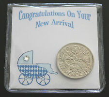LUCKY SIXPENCE COIN KEEPSAKE BABY BIRTH CONGRATULATIONS  NEW BABY - BABY BOY