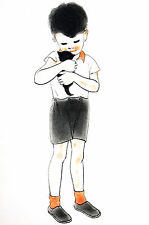 Newberry YOUNG BOY HUGGING NEW KITTEN 1936 Cat Illustration Art Print Matted