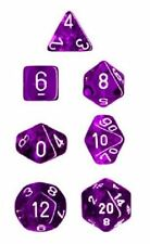 Chessex Polyhedral 7 Dice Set Translucent Purple with White NEW