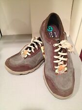 Skechers Relaxed Fit Memory Foam Lace Up Lightweight Suede Denim Brown Grey
