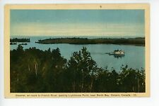 Steamer Ship near NORTH BAY ONTARIO Antique French River Boat ca. 1941