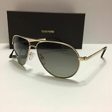 New!!! TOM FORD Marko TF144 28D Polarized James Bond 007 Aviator Rose Gold/Gray