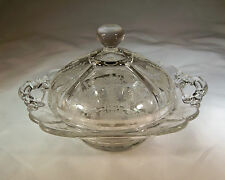 CAMBRIDGE ROSE POINT CRYSTAL #3400/52 KEYHOLE HANDLED BUTTER DISH & COVER!