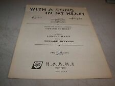 WITH A SONG IN MY HEART SPRING IS HERE SHEET MUSIC LORENZ HART RICHARD RODGERS