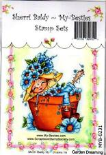 NEW My-Besties Clear cling Rubber Stamp GARDEN DREAMING GIRL free USA ship