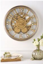 Hometime Gold Vintage Style Cog Skeleton Design Wall Clock
