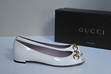 New sz 6 / 36 Gucci White Patent Leather Peep Toe Women's Flat Slip on Shoes