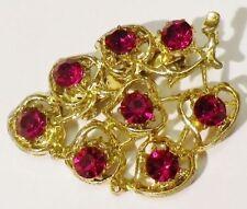 broche bijou vintage feuille relief ajouré cristal rouge rubis couleur or * 4073