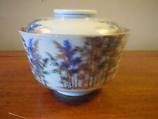 Vintage/Antique Porcelain Fukagawa Soup/Rice Bowl W/Lid.. Pattern FUK77