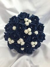 WEDDING FLOWERS ARTIFICIAL IVORY /NAVY BLUE FOAM ROSE WEDDING BRIDESMAID BOUQUET