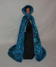 Handmade Persian or Dark Turquoise Velvet Panne  Barbie Cape