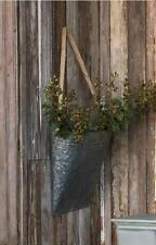HANGING GALVANIZED METAL PICKING BASKET~Wall Pocket~Farmhouse Decor