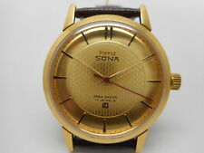 hmt sona super slim hand winding men's mechanical gold plated india watch run