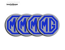 MGF TF LE500 Alloy Wheel Hub Centre Cap Badges MG Logo Emblem Blue & Silver 55mm