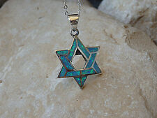 GENUINE STAR OF DAVID OPAL PENDANT sterling silver Jewish Religious Israel NEW