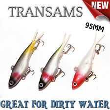 3x Mullet Transam Lures 95mm Soft Fishing Lure Plastic Vibes Jack Barra Kingfish