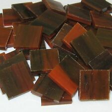 """100 1/2"""" Black and Orange Streaky Opal Stained Glass Mosaic Tiles"""
