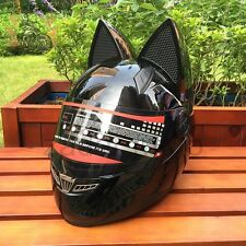 Motorcycle Full Face Cat Ear Horn Helmets+ 4 Black Clear Colorful Silver Visors